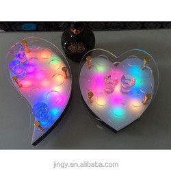 exquisite led crescent and heart-shaped lucite mini cocktail wine glass holder