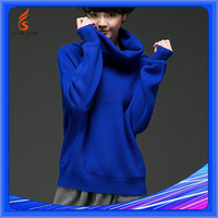 Computer Knitted Women Pullover American Organic Royal Blue Sweater