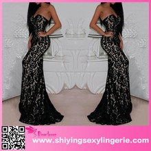 2015 Black Lace Mermaid Evening Cocktail www sex.photos com Maxi Dress