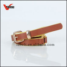 Brown Color Outside and Yellow Color Inside PU Belt for Women