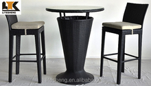 2015 American Style 3pcs Modern Rattan Plastic Bar Table and Chairs