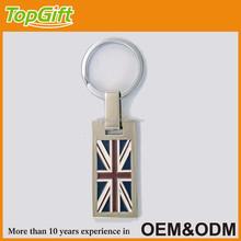 Metal custom keychain with London country flag