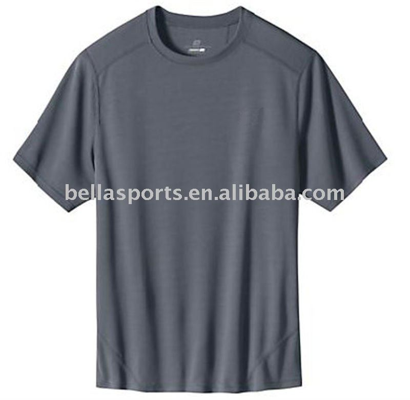 Cinza impressão do logotipo confortável dryfit camiseta correr / jogging mangas curtas uniforme / kits / top / camiseta / camisa pure color