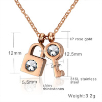 Charm Fashion Key And Lock Jewellery Pendant Necklaces