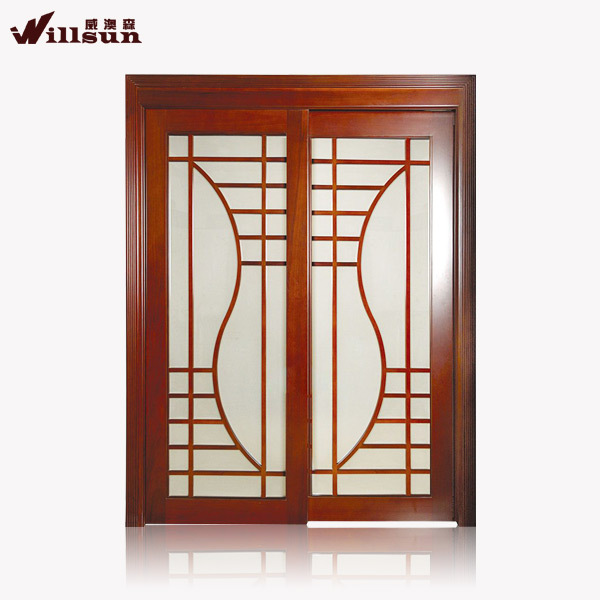 Teak wood door frame design sliding type indian main door for Sliding main door