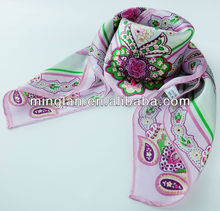 2014 fashion stylish printed square scarves silk