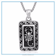 MECY LIFE high quality casting vintage square silver scorpion pendant