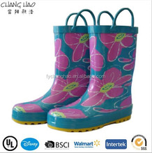 Fashion flower pattern kids multicolor rubber rain boots with handle