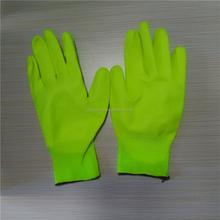 pu leaching zhang pu coated palm anti-static gloves manufacturers selling
