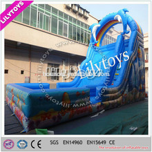 Top level design dolphin blue beautiful color giant adult inflatable slide with high quality