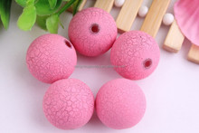 High Quality Large round bubble gum acrylic crackle beads/Bulk chunky acrylic beads for kids jewelry making!