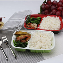 red black 2compartment plastic food storage container with clear lid