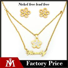 Stainless steel wendy flower jewelry set , 18 k gold plate fashion jewelry set