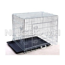 "Black 42"" 2 Door Metal Pet Dog Cage w/ABS Tray"