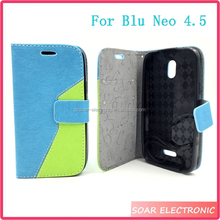 For Blu Neo 4.5 S330L Case,Fashion Dual Colors Leather Flip Wallet Case For Blu Neo 4.5 S330L