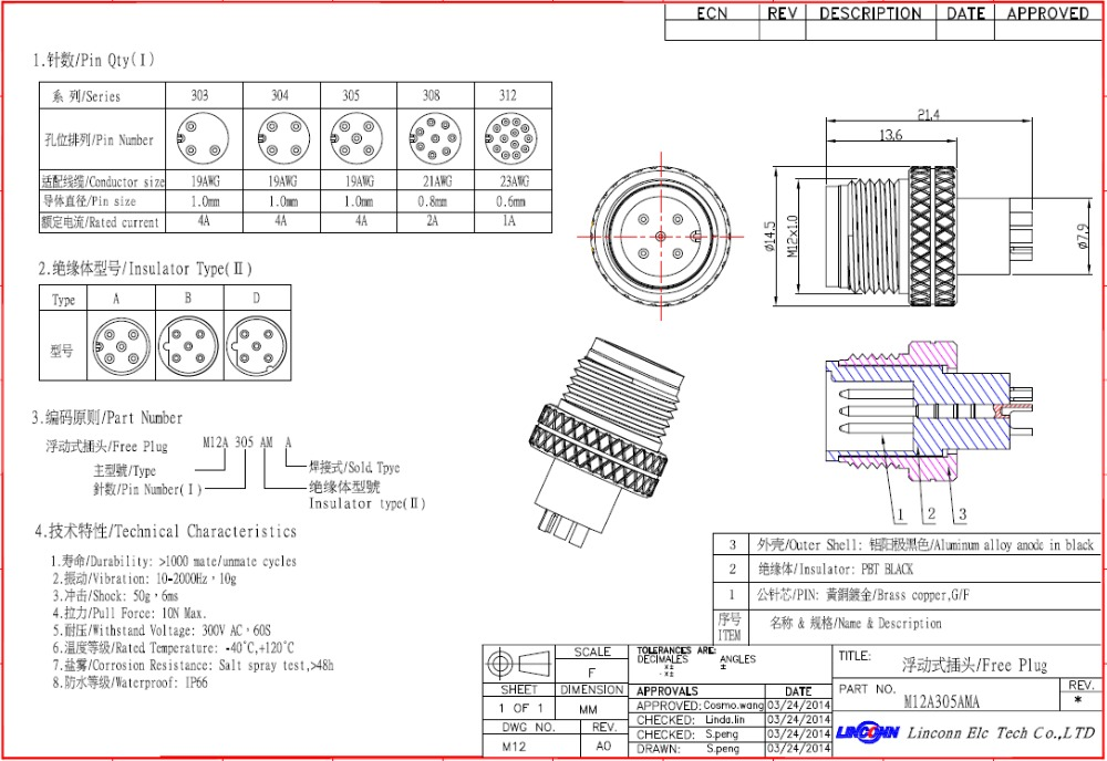 M12 Et M8 Soudure 233 Lectrique Mini Connecteur 4 Pino 8 Pino