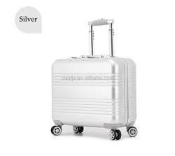"""Aluminum 18"""" Trolley Travel Luggage and Suitcase Upright Spinner In Silver"""