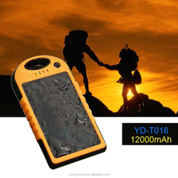 New product ,Monocrystal solar panel, 12000mah solar mobile phone charger for iphone 5