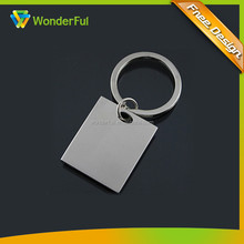 Hot Sale Strong Metal Blank Square Shape Custom Laser Logo VIP Souvenir Carving Keychain