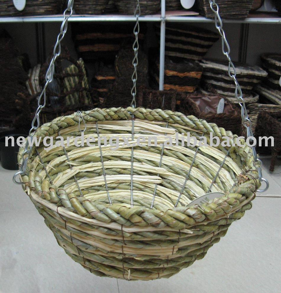 Rattan Flower Baskets : Rattan hanging basket wicker flower