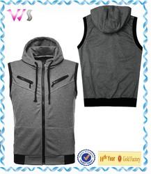 mens thick fleece hoodies zipper latest fashion pullover mens sleeveless 100% cotton hoodies