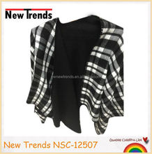 Classical balck and white checked big size pashmina scarf