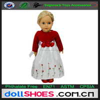 Classical 18inch american girl doll red evening dress with flowers on the skirt hem