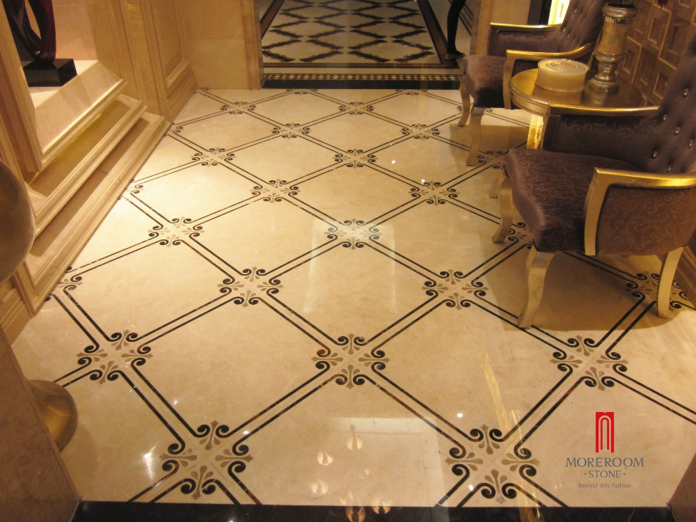 Marble Inlay Flooring Designs : Spain crema royal marble waterjet inlay flooring