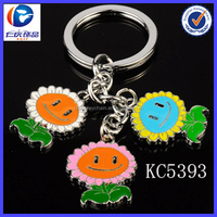 New Fashion design Ithe smiling faces of the sun Flower shaped metal keychains