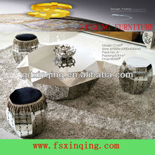 Small and delicate pure stainless steel round coffee table -C146