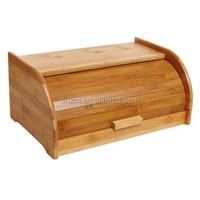 Exquisite Bamboo Sliding Lid Rolltop Bread Box / Storage Bin