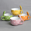 16oz one handle color ceramic soup bowl with spoon