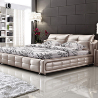 Hot!!!Modern Diamond white PU/PVC high quality bed design