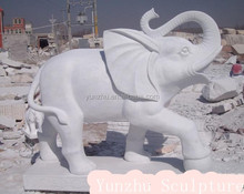 hand carved elephant white pink marble stone statue sculpture