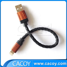 2015 high quality mfi approved usb to stereo leather braiding cable with wood casing