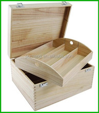 Unfinished Wooden Treasure Chest with Tray