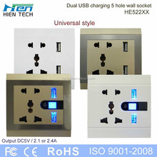 Wholesale male/female plug and socket USB wall socket outlet with double USB charging ports 2.1A 2.4A for option