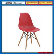 New Design Plastic Dining Chair With Wooden Legs(GY-615A)