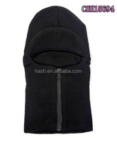 Black knitted ski mask with zipper, knit balaclava hat with visor