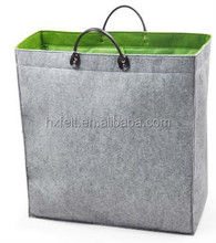 High capacity felt laundry bag with handles for home storage