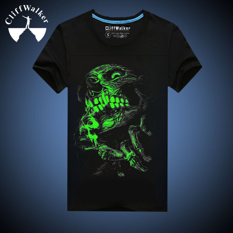 mens glow in the dark skeleton halloween costume black t shirt