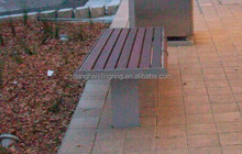 Long Outdoor painted seat with plastic wood panel