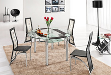 L801B Modern rotating round clear glass dining table in kitchen set