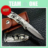 Custom Handmade Damascus Steel Forged Folding Knife Knives Sheath