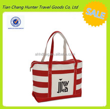 New women handbag Ladies Cotton Canvas Fashion Shopping bag Stripe Tote Bag with outer pocket