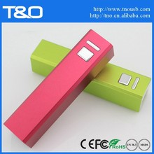 Metal rectangle 2600mAh manual for power bank battery charger