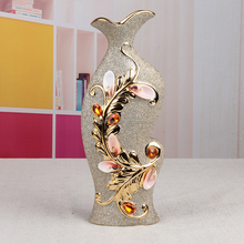 gold plated natural leaf design ceramic decoration vase