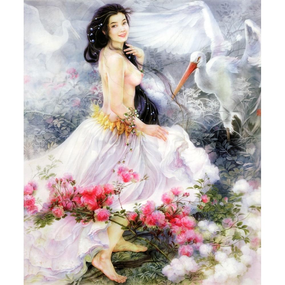 Donna nuda con i capelli lunghi e bel vestito carta da parati ...