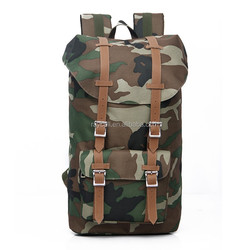 Military Large volum Backpack with genuine leather strap at factory price in customized style
