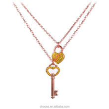 Fashion jewellery rose gold filled lock& key pendant necklace wholesale alibaba